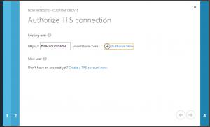 Authorise your TFS connection