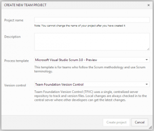 Create a new project in TFS